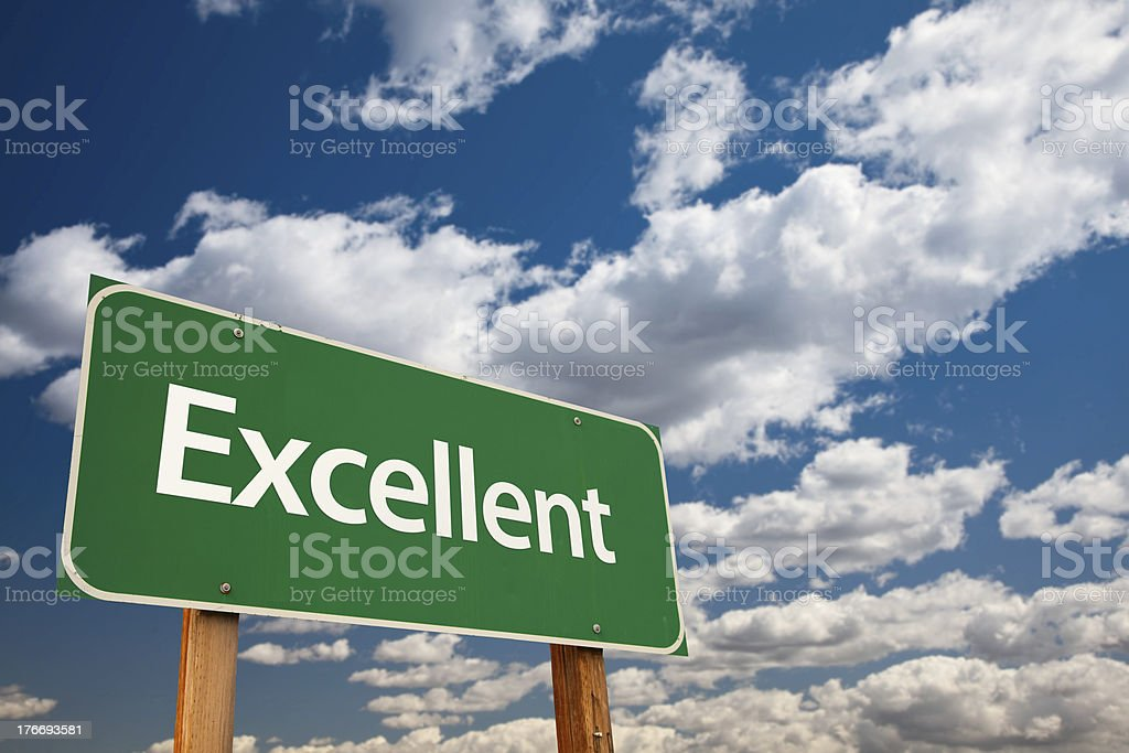Excellent Green Road Sign with Sky stock photo