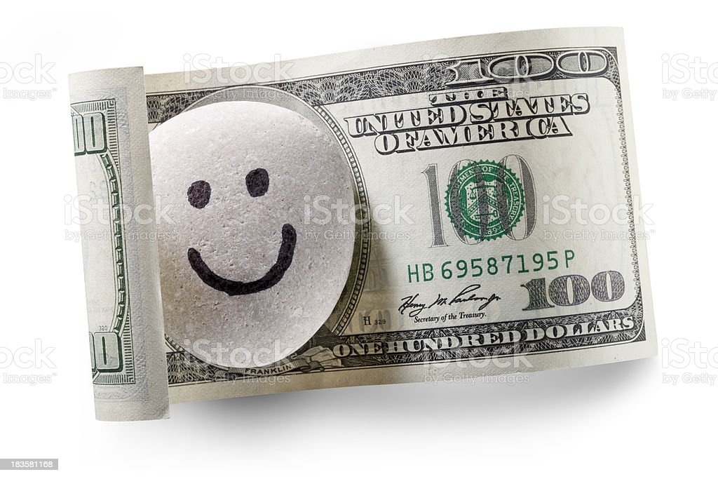 Dollar Bill With Pebble Smiling Royalty Free Stock P O