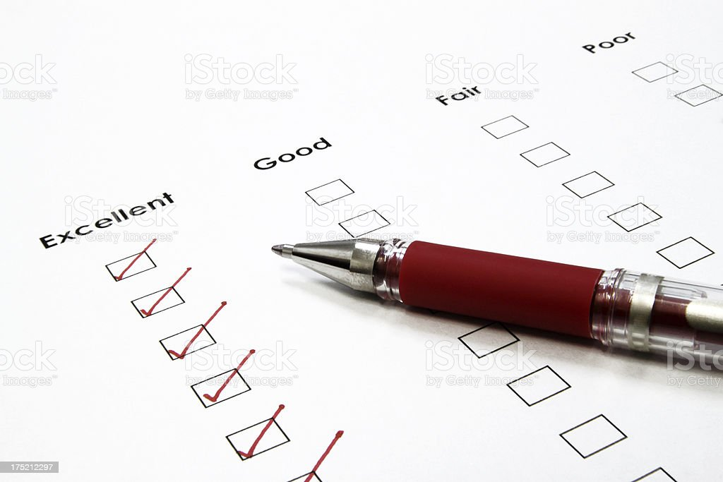 Excellent Service Survey Completion Form royalty-free stock photo