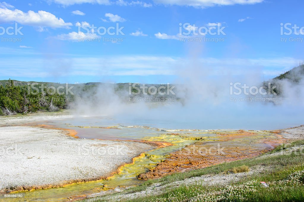 Excelsior Geyser Crater in Yellowstone National Park, Wyoming, USA stock photo