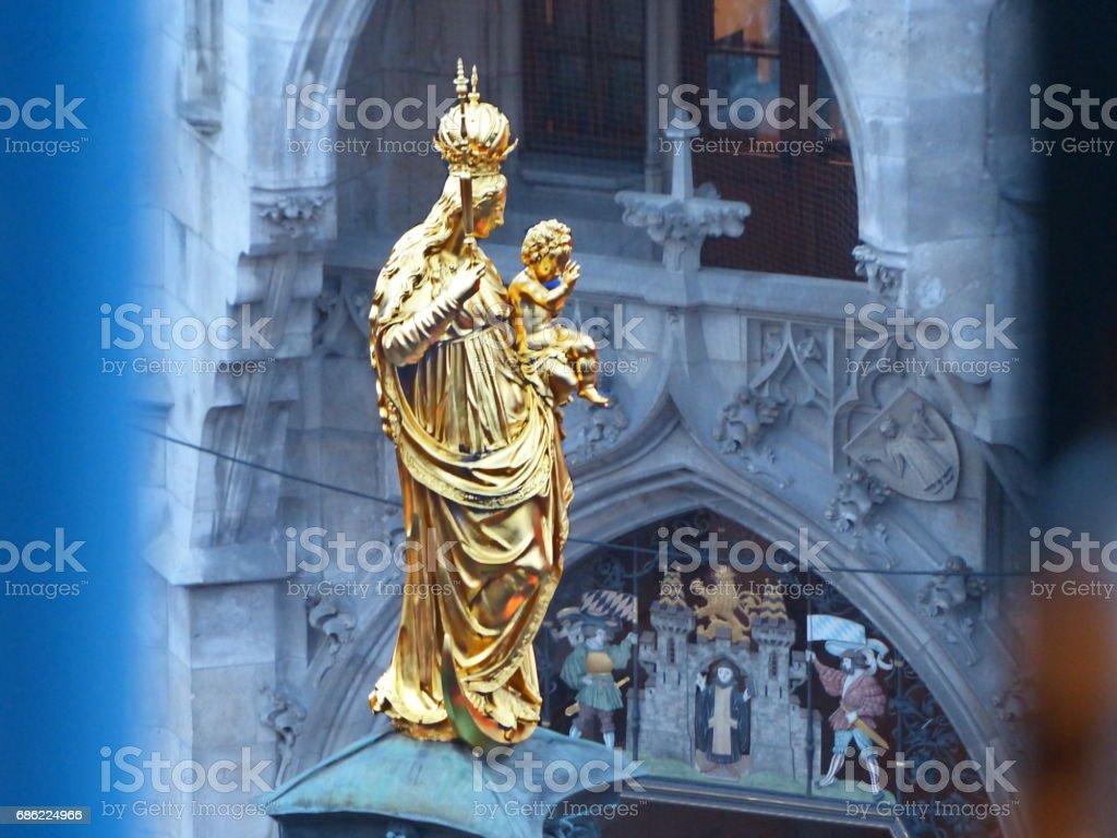 Exceptional  Prespective of St. Mary's column at Munich Marienplatz. stock photo