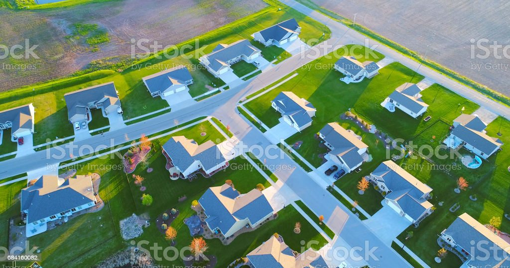 Exceptionally beautiful neighborhoods, homes, aerial view at sunrise. royalty-free stock photo