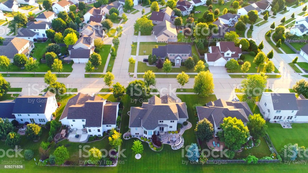 Exceptionally beautiful neighborhoods, homes, aerial view at sunrise. stock photo