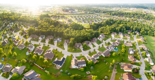 exceptionally beautiful neighborhoods, homes, aerial view at sunrise - green bay wisconsin stock photos and pictures