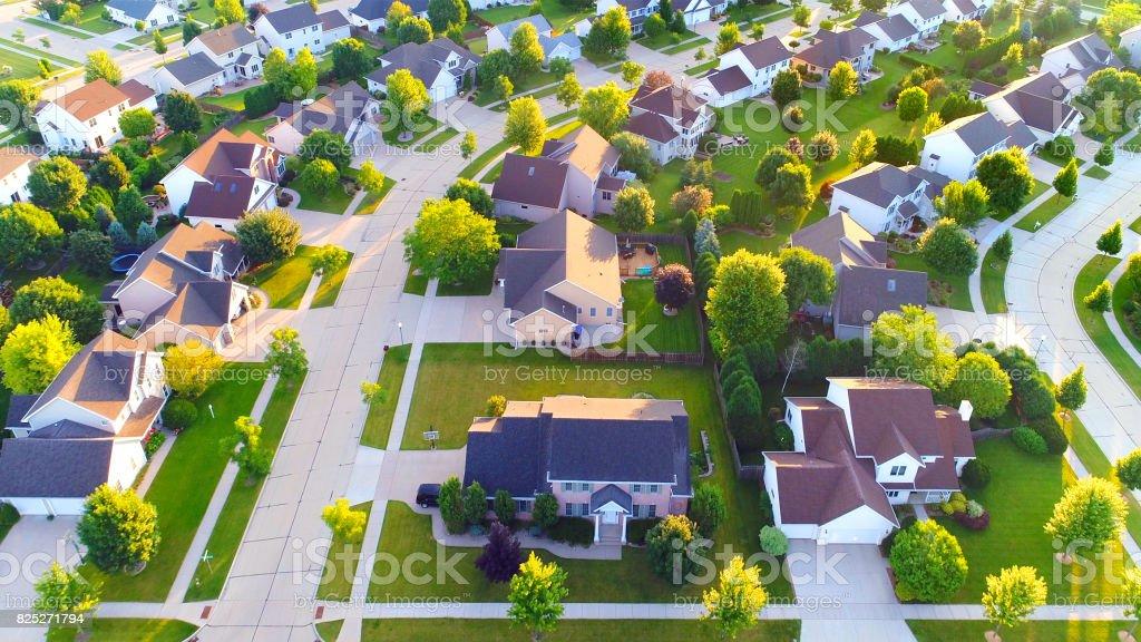 Exceptionally beautiful suburban neighborhoods, aerial view. stock photo