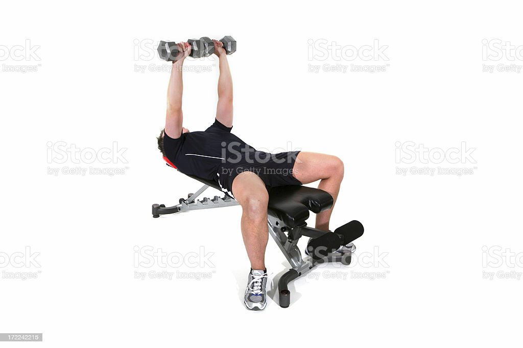 Excercise: Dumbell Bench Press royalty-free stock photo