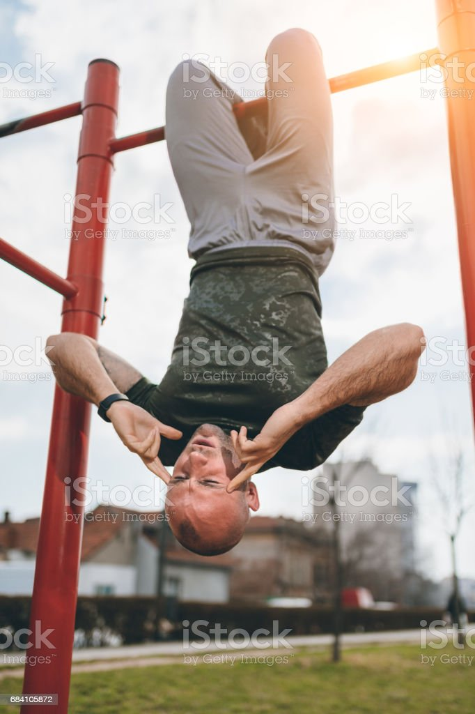 Excersising outdoors stock photo