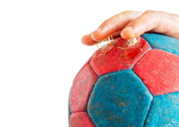 Balonmano exceso Rasin en dedos - foto de stock