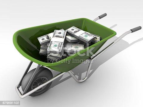 Carry money with wheelbarrow. Bank transfer. Upstart behavior.