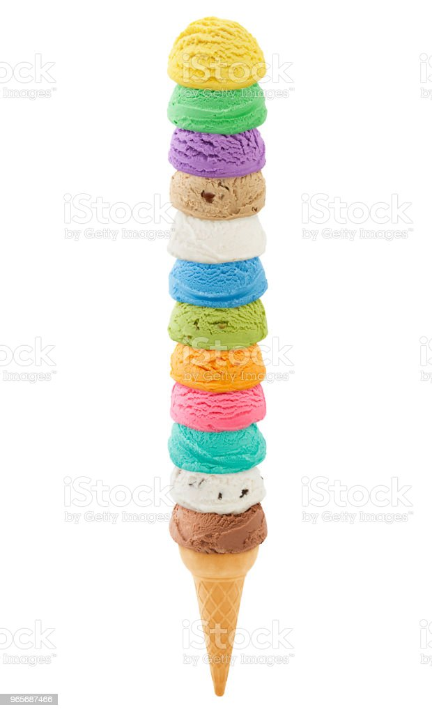 Excessively Tall Ice Cream Cone (with path) stock photo