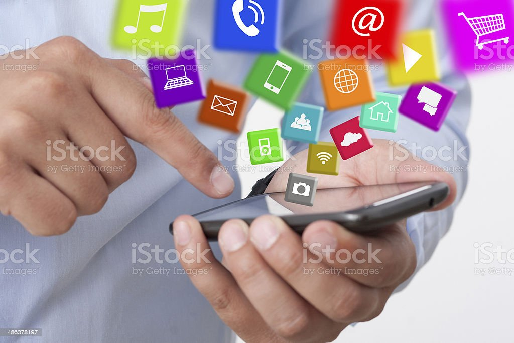 exchange applications with a smart phone stock photo