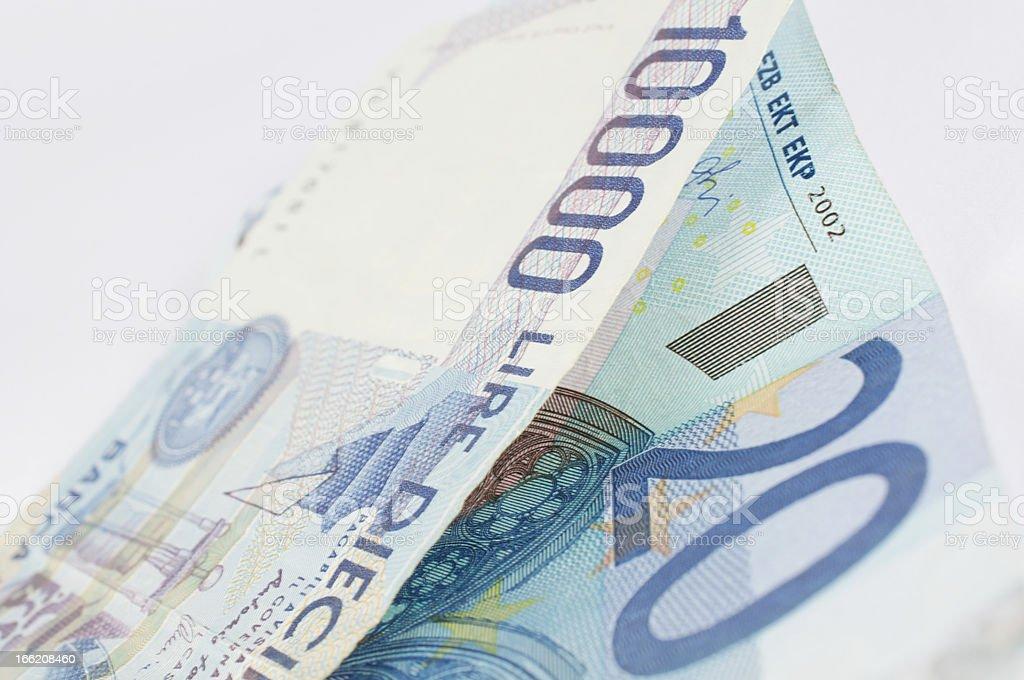exchange euro and lira banknote stock photo