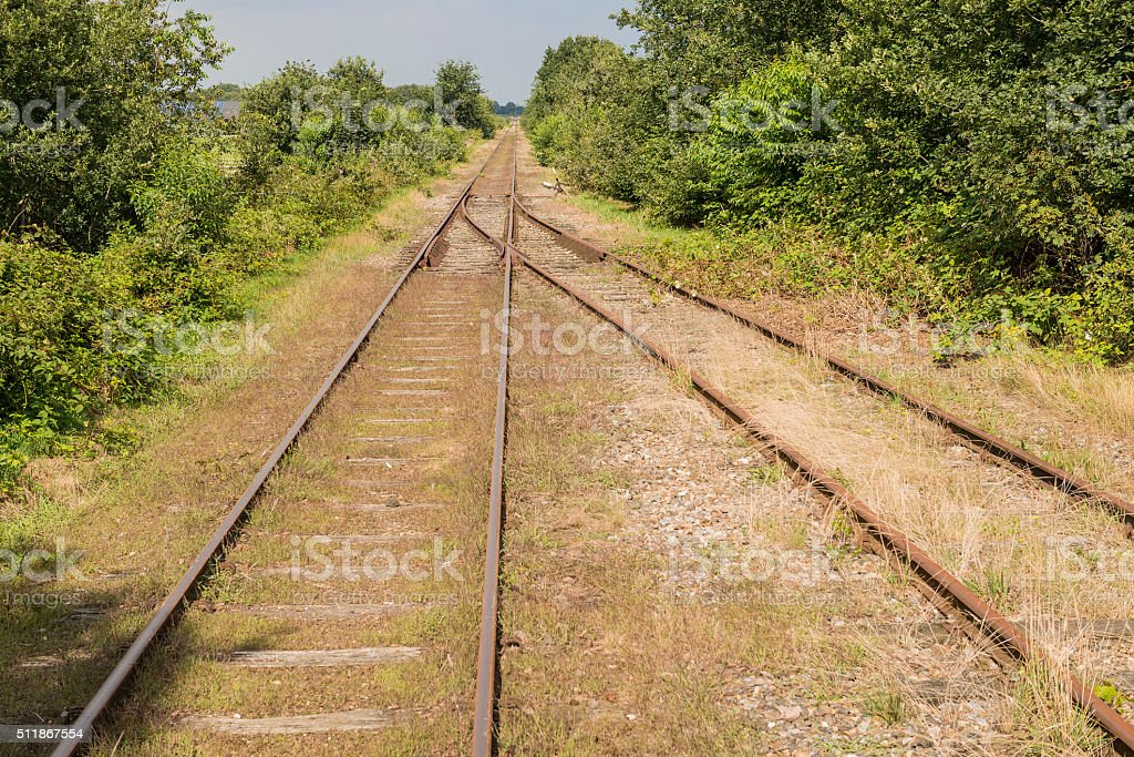 Exchange in an old railway line. stock photo