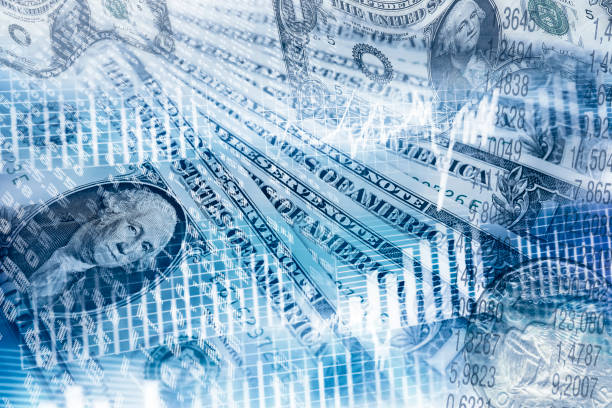 Exchange rate and dollars stock photo