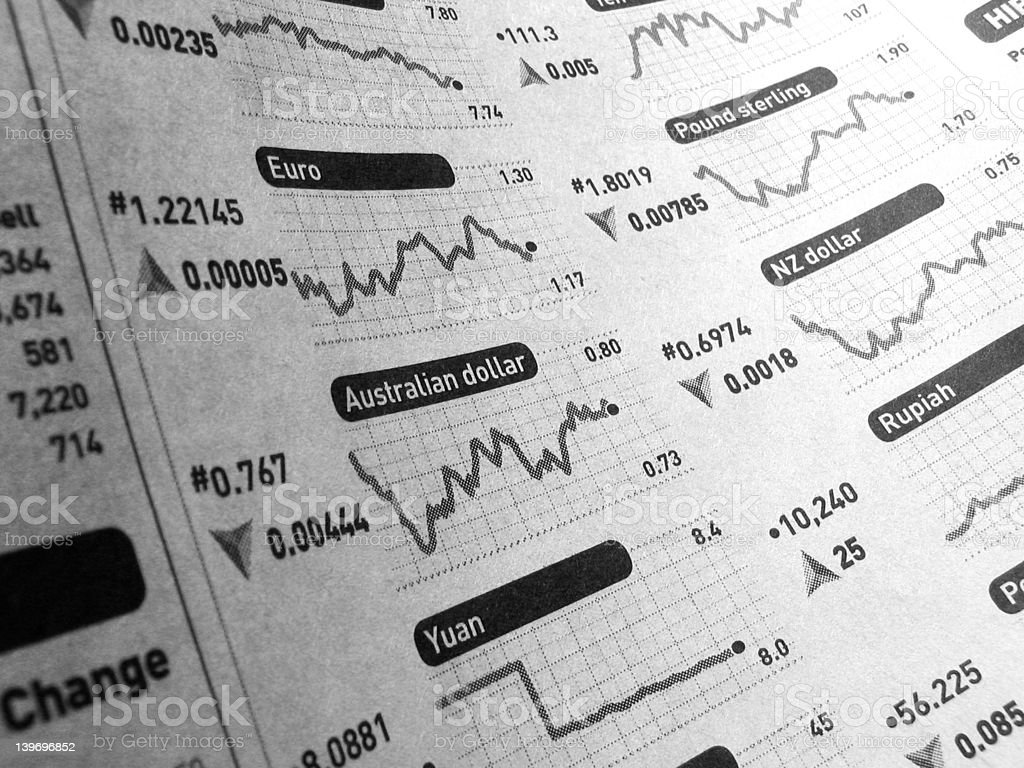 exchange rate gradient published on a curly newspaper royalty-free stock photo