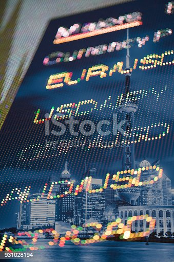 Exchange rate in the trading board with Shanghai night scence in the background