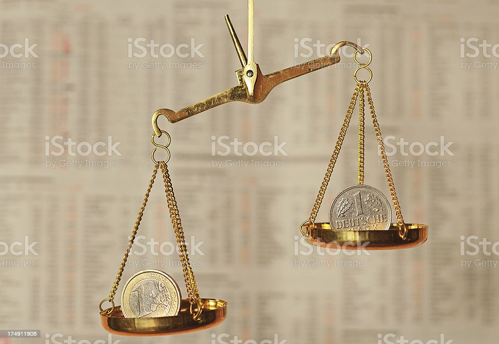 Exchange rate scale in front of stock market data royalty-free stock photo