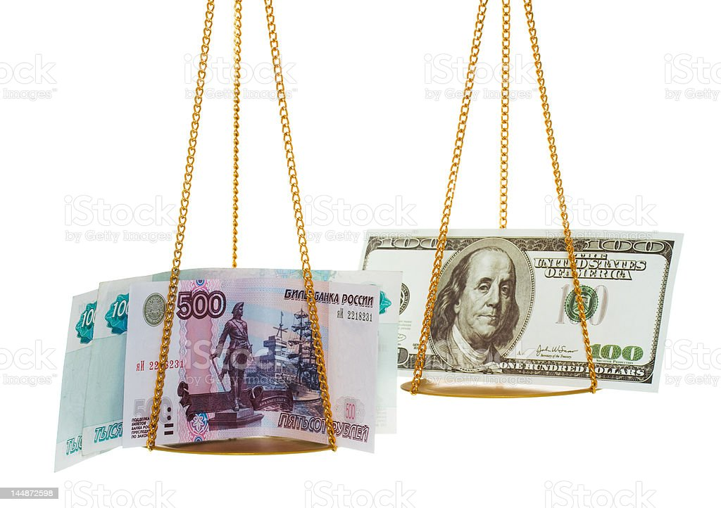 Exchange rubles on dollars royalty-free stock photo