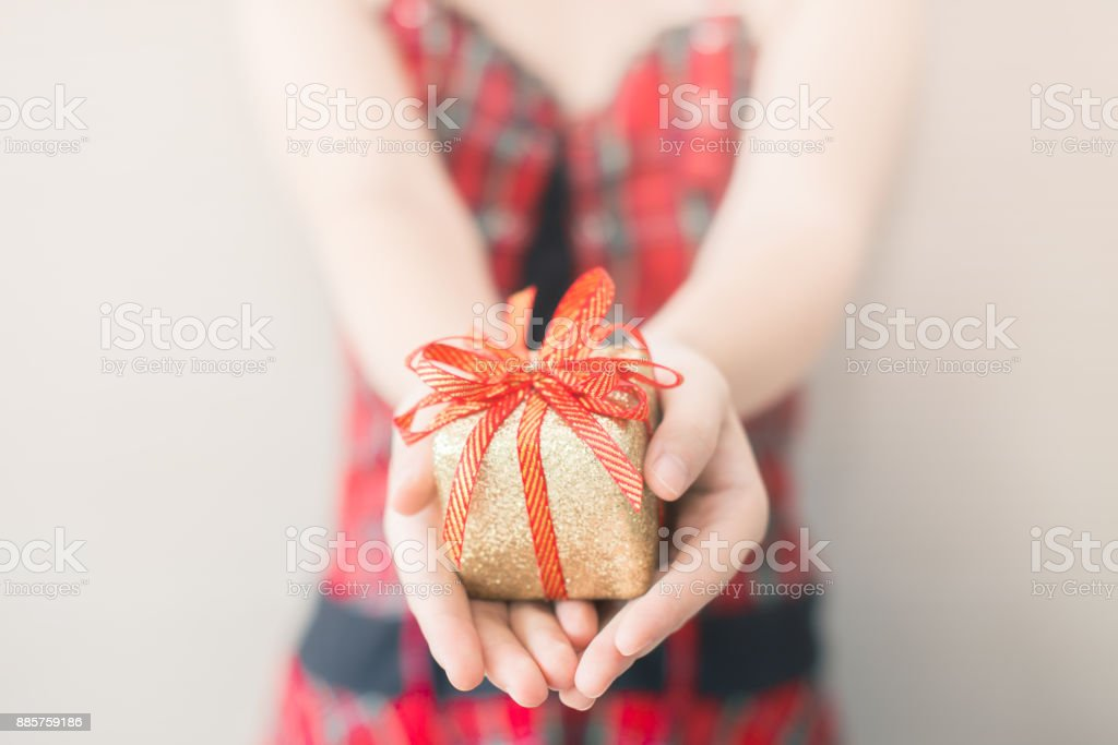 Exchanging gifts stock photo