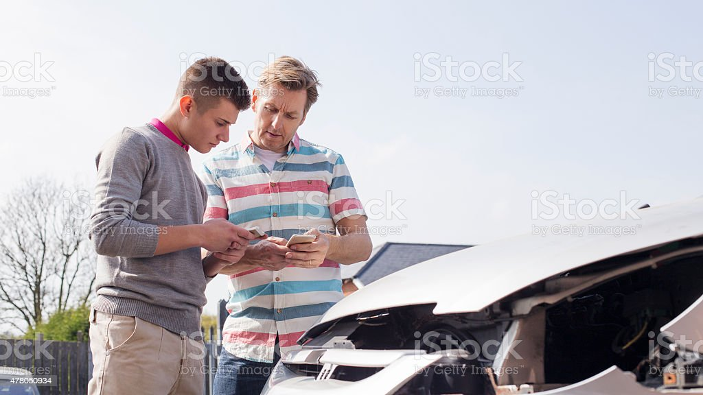 Exchanging Insurance Details stock photo