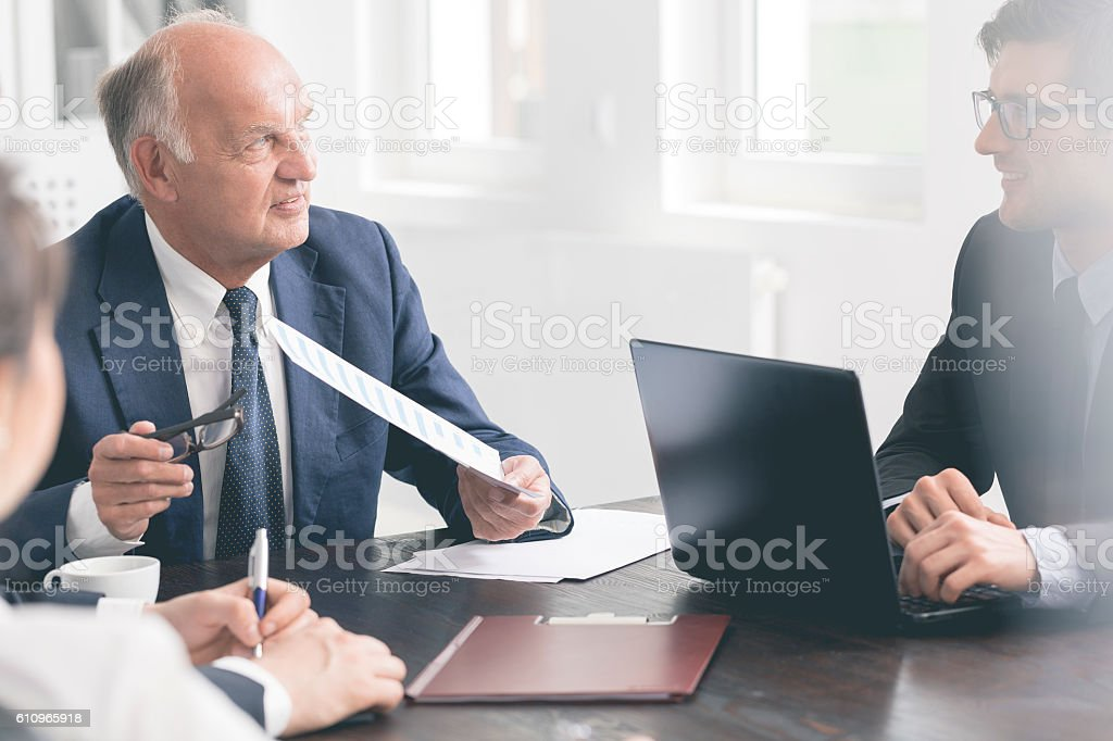 Exchanging views on company's strategies stock photo