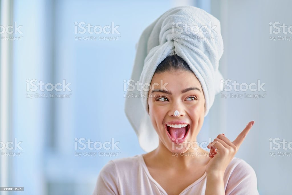 Excited about skincare - foto stock