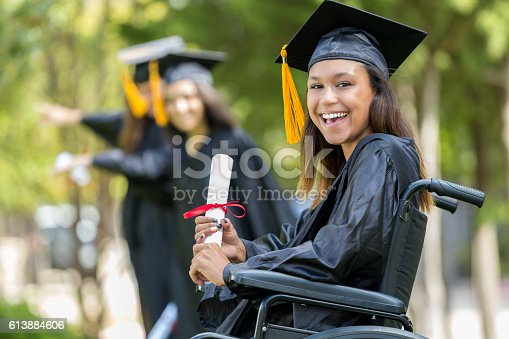istock Excited African American college graduate 613884606