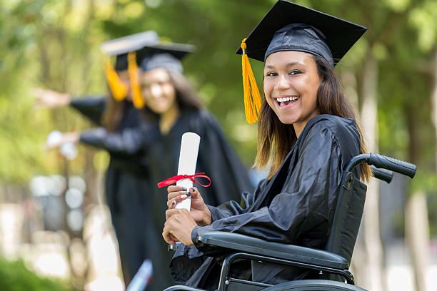 excited african american college graduate - vorschuldekorationen stock-fotos und bilder