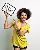 istock Excited Afro American Woman with speech bubble 467245734