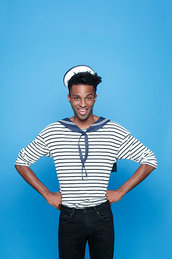 Excited Afro American Young Sailor Stock Photo - Download Image Now
