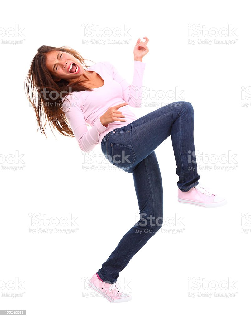 Excited air guitar woman stock photo