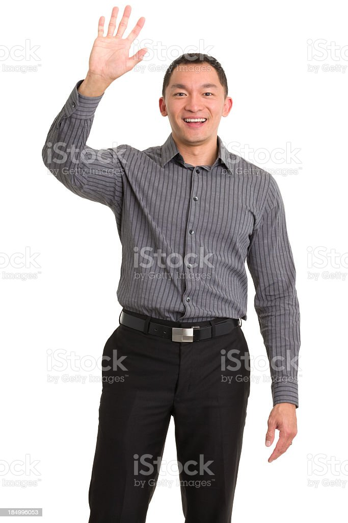 Excited Asian Man Waving Hello stock photo
