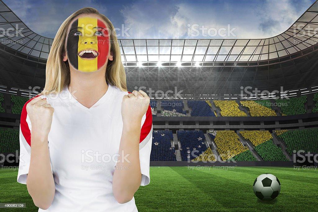 Heureux Belgique fan de visage peinture Acclamation de joie - Photo