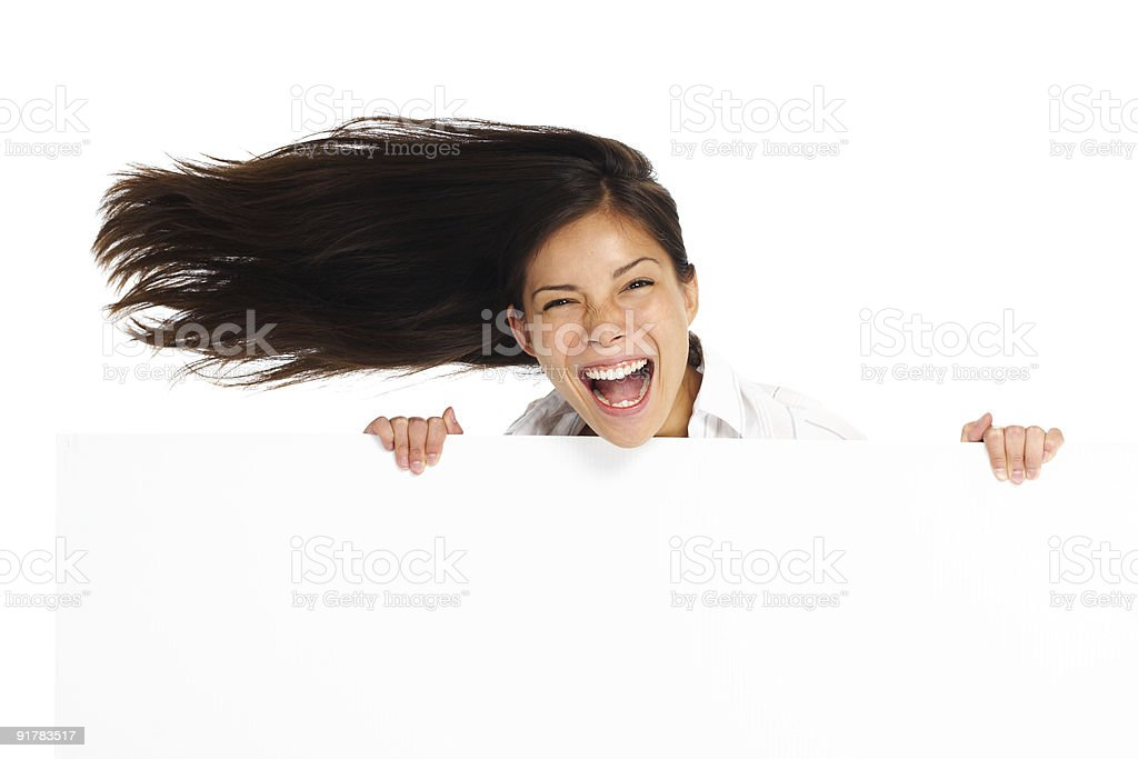 Excited billboard woman royalty-free stock photo