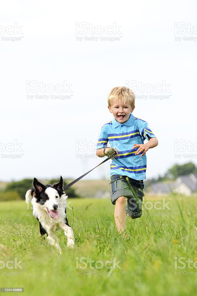 excited boy and dog stock photo