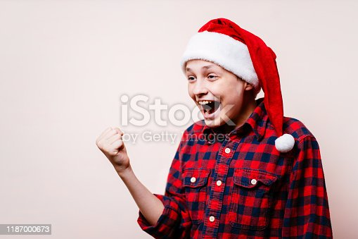 1045527172 istock photo excited boy in christmas hat making win gesture 1187000673