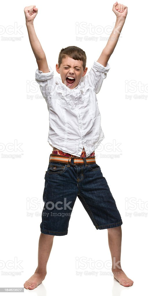 Excited Boy Shakes Fists stock photo