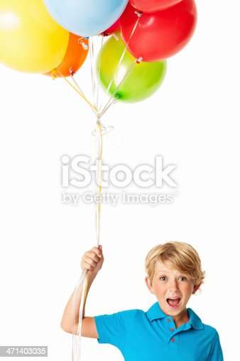 istock Excited Boy With Balloons - Isolated 471403035