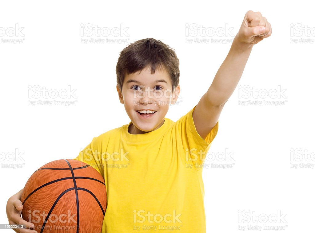 Excited boy with basketball royalty-free stock photo