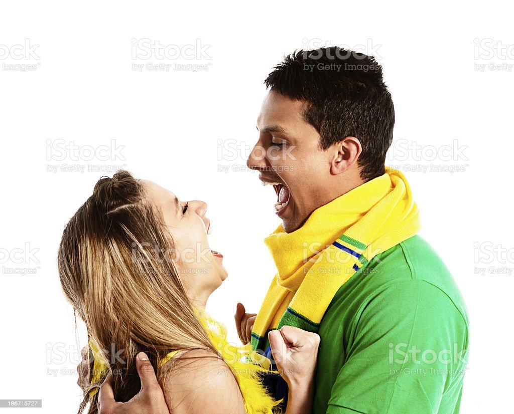 Empolgado os fãs do futebol brasileiro pronto para world championship - foto de acervo
