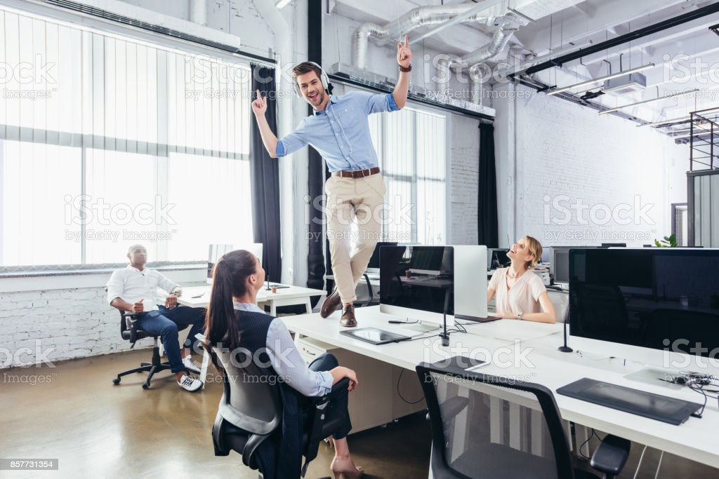 excited business colleagues stock photo