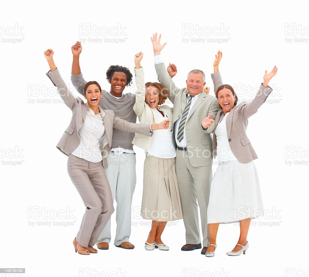 Excited business colleagues standing against white background royalty-free stock photo