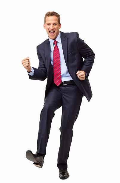 Excitación negocio empresario aislado - foto de stock