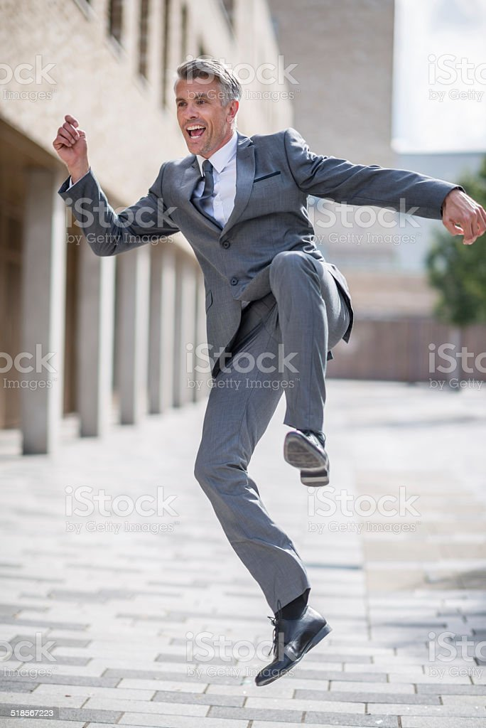 Excited business man stock photo