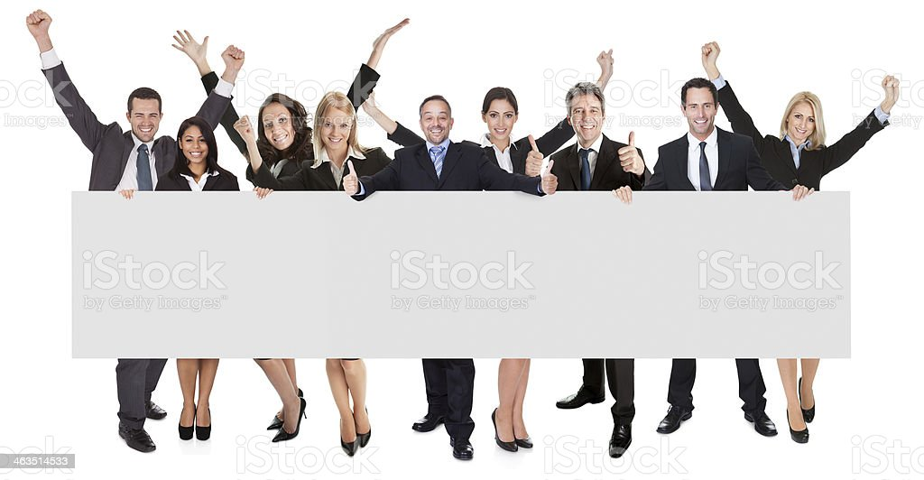 Group of excited business people presenting empty banner. Isolated on...