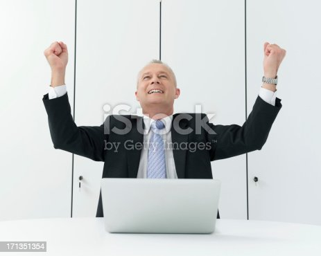 Excited mature businessman cheering with clenched fist while sitting in front of laptop at conference table. Horizontal shot.