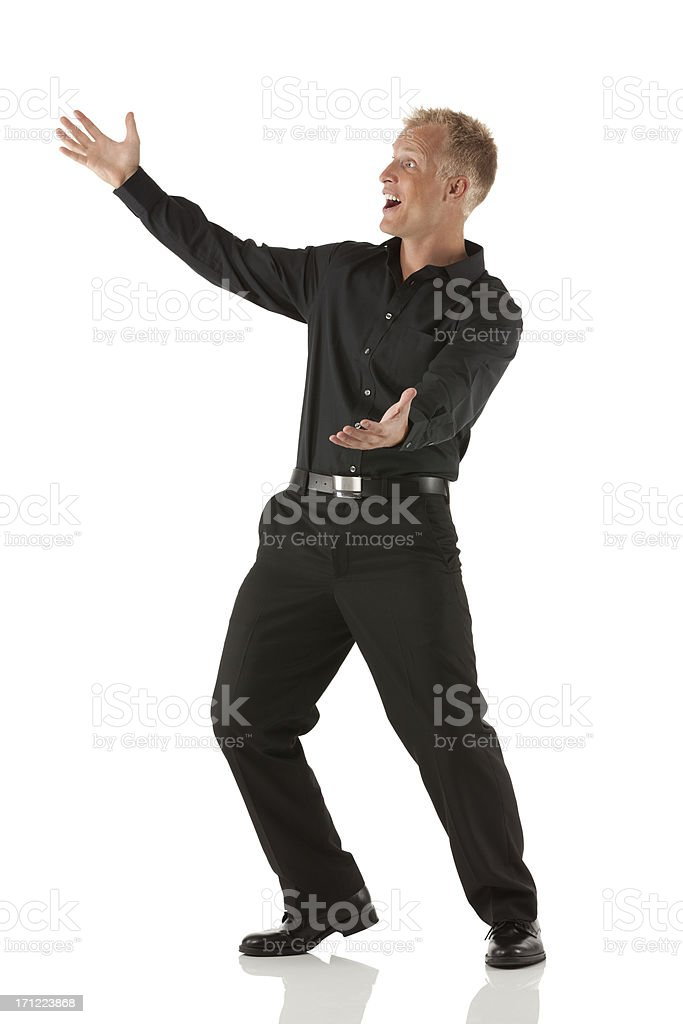 Excited businessman gesturing royalty-free stock photo