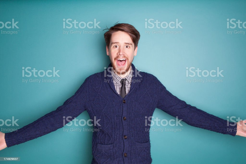 Excited Businessman on Teal royalty-free stock photo