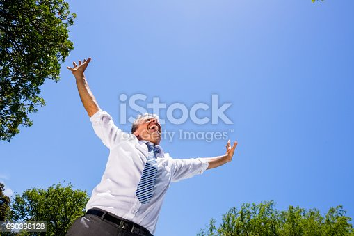 istock Excited businessman screaming 690368128
