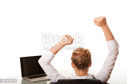 istock Excited businesswoman at work 681636426